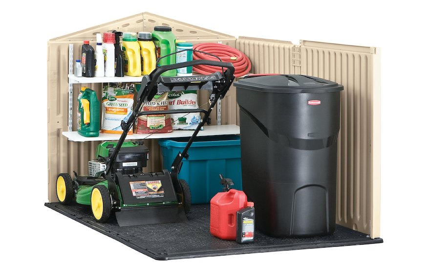 Cross section of the interior of a garden shed filled with yard maintenance tools