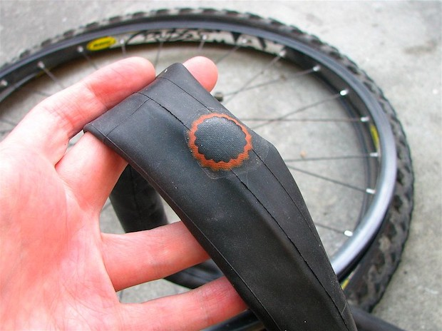 A bike tube that has been patched