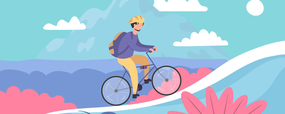 Illustration of man riding bike uphill with a backpack